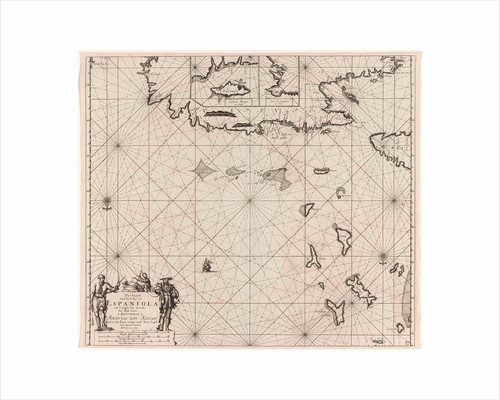 Sea chart of the north coast of Hispaniola, with two insert cards by Johannes van Keulen I