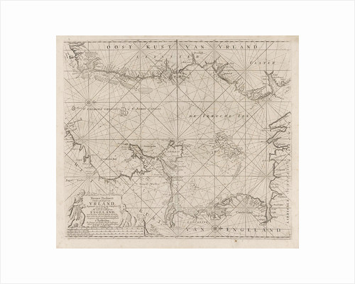 Sea chart of part of the Irish Sea between Ireland and Britain, and the St George's Channel by Jan Luyken
