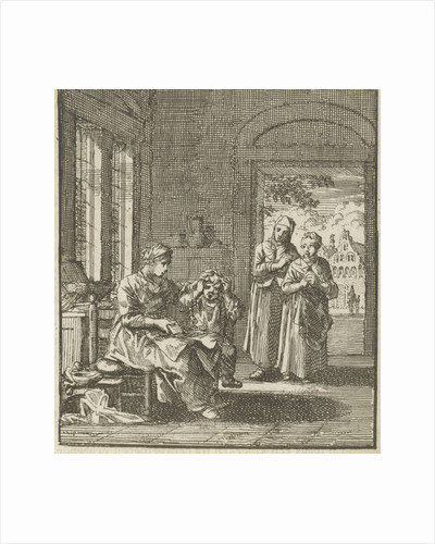 Mother combing the hair of her child by Cornelis van der Sys