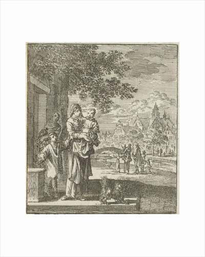 Mother with child on the sidewalk in front of her house by Cornelis van der Sys