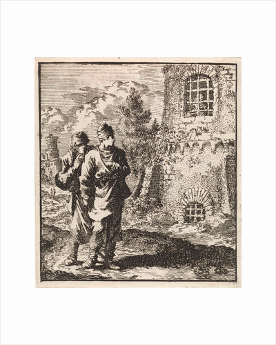 Two travelers watching a man behind the bars of a prison by Pieter Arentsz & Cornelis van der Sys II