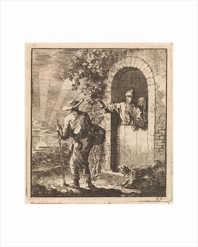 Men in a doorway gesturing a weary traveler to continue by Pieter Arentsz & Cornelis van der Sys II