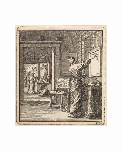 Man writing from right to left on a slate wall by Pieter Arentsz & Cornelis van der Sys II