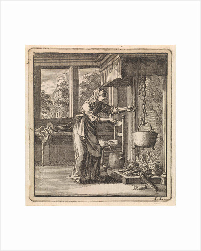 Woman reaches for the chain from a pot that hangs high above the fire by Pieter Arentsz & Cornelis van der Sys II