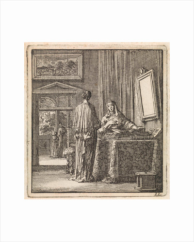 In addition to a mirror where a woman looks at another woman reading the Bible by Pieter Arentsz & Cornelis van der Sys II