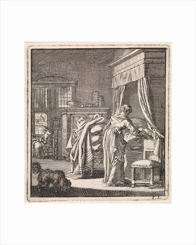 Woman collects a bed sheet by Pieter Arentsz & Cornelis van der Sys II