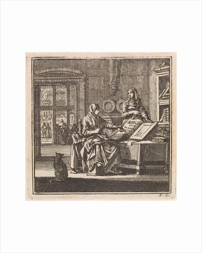 Two women stand near an open bible by Pieter Arentsz & Cornelis van der Sys II