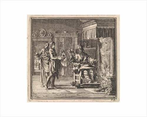 Man with gout gets food served at the fireplace by Pieter Arentsz & Cornelis van der Sys II