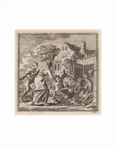Three figures chasing sheep and poultry in their stable by Arentsz Pieter Cornelis van der Sys II