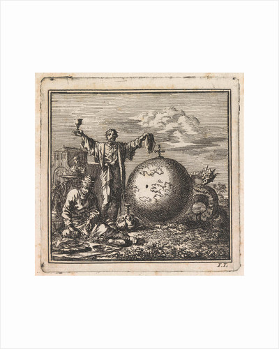 Two men enjoy food and drink while Satan is watching from behind the globe by Pieter Arentsz & Cornelis van der Sys II