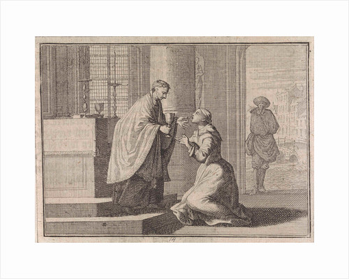 Priest gives a host to a woman kneeling before the altar by Frantz Martin Hertzen