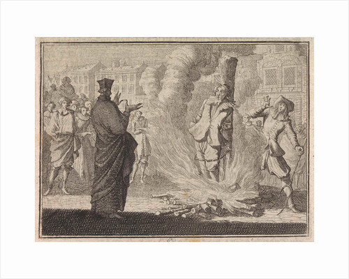 Man is burned alive while a clergyman talks to him by Frantz Martin Hertzen