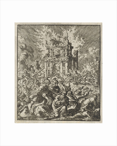 Romans kill the Jews, while the Temple burns by Barent Visscher