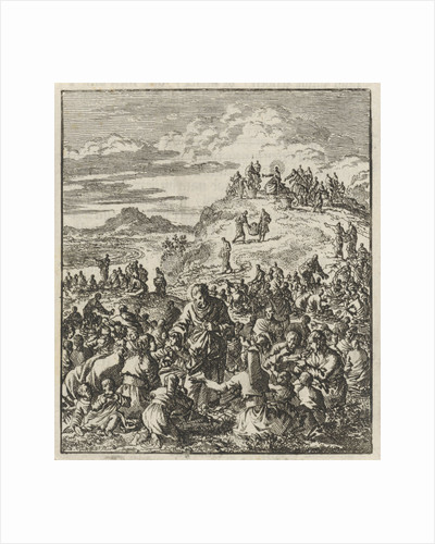 Apostles give bread to the crowd, Christ on a mountain top by Barent Visscher