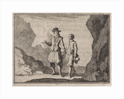 Emperor Maximilian and his guardian angel in a rocky landscape by Christoph Weigel