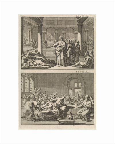 Christ and his disciples at the bathhouse of Siloam and Christ as the guest of Simon the Pharisee by Willem Broedelet