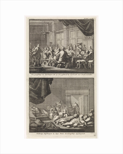 Bishops at a table and drunken bishops asleep in a room by Barent Visscher