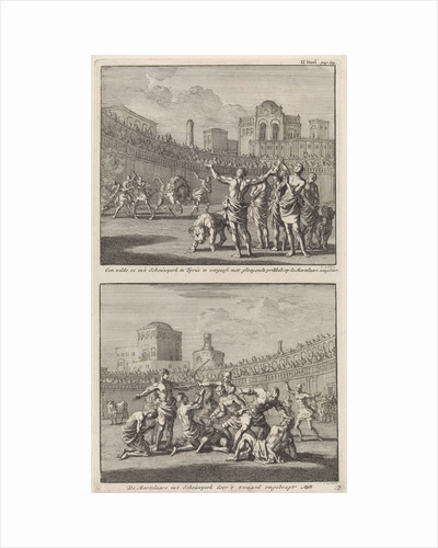 Early Christian martyrs in a Roman arena and Early Christian martyrs who are being slaughtered in an arena by Barent Visscher