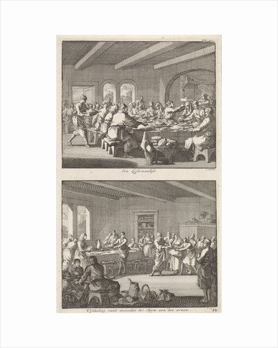 Shared meal among Christians and distributing food to the poor by Jacobus van Nieuweveen