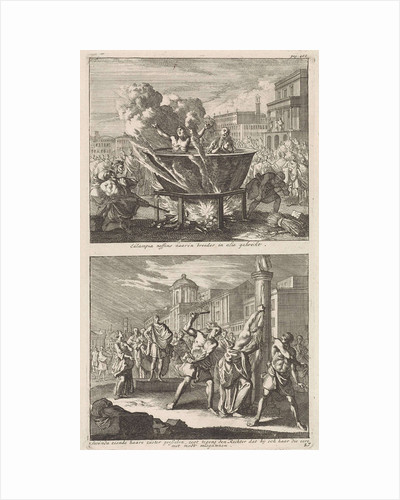 Holy Eulampia and her brother are boiled alive in oil and the Martyrdom of Saint Rufina Rome by Jacobus van Hardenberg