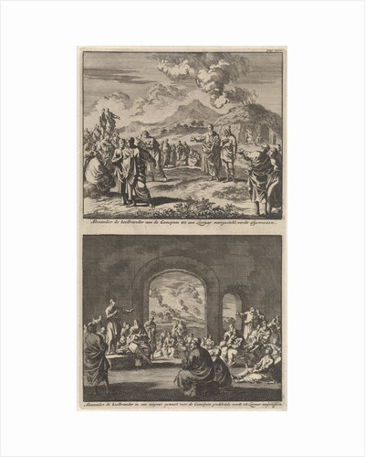 Holy Alexander carbonarius is rejected by the early Christian church and holy Alexander carbonarius preaches to the early Christian church by Jacobus van Hardenberg