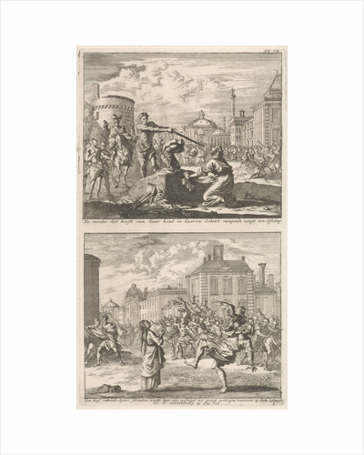 Beheading of a Christian in Rome and Saint Agnes who is protected by a bird by Jacobus van Hardenberg