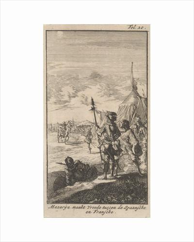 Bishop Mazarin close the peace treaty of Cherasco by Boudewijn van der Aa