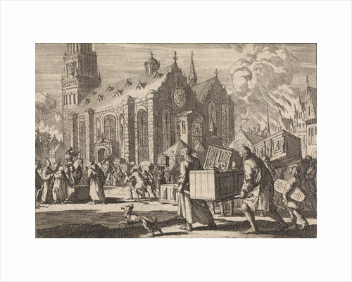 Residents of Spiers bringing in good faith their furniture to the Cathedral where they are then burned by the French General Monclar by Pieter van der Aa I