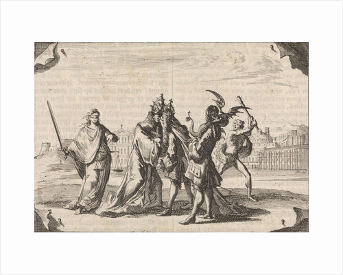 Cartoon about the struggle between Louis XIV and Pope Innocent XI by Pieter van der Aa I