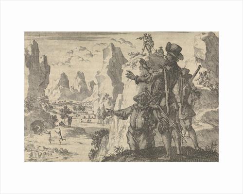 Armed Spaniards watching wild people from rocks, ca. 1600 by Pieter van der Aa I