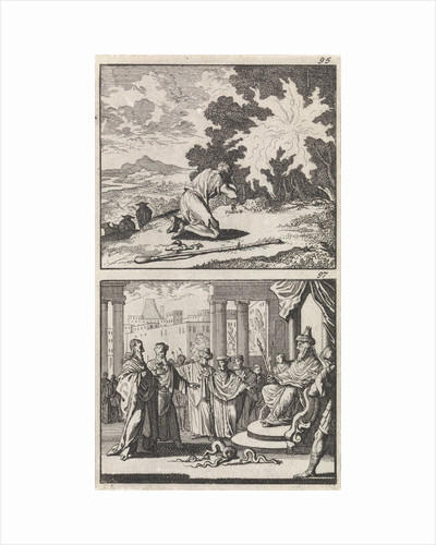 Moses at the burning bush, Moses and Aaron before the Pharaoh by Andries van Damme