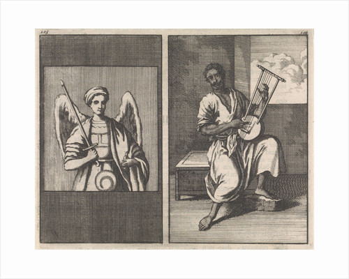 Angel with sword, Moor plays five stringed instrument by Jan Luyken