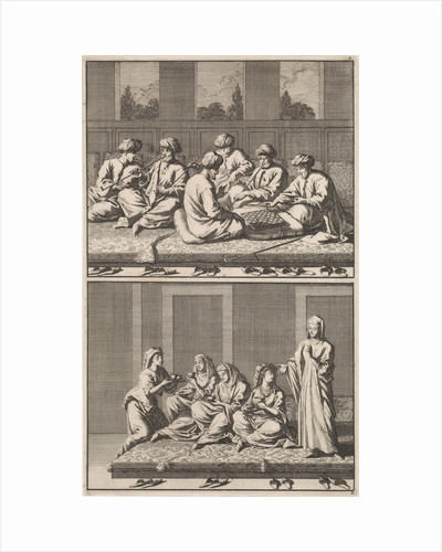 Company of six smoking and chess-playing Turks, Company of coffee drinking four women and a slave by Jan Luyken