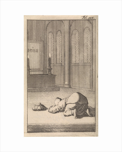 Interior of a mosque with a figure kneeling in prayer by Timotheus ten Hoorn