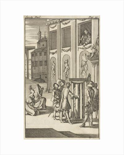 Mirandor's master, the innkeeper, in turning cage by Pieter van Rijschooten