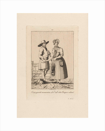 Man and woman in costume from Kampereiland, Carl Cristiaan Fuchs by Harmanus Langerveld