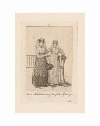 Two women in Frisian and Groningen costume, Carl Cristiaan Fuchs by Harmanus Langerveld