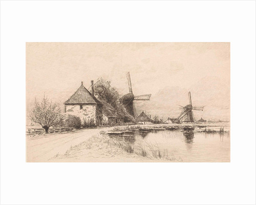 Houses and two windmills along a river by Elias Stark
