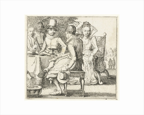 Five people sitting around a table on a terrace by Anonymous