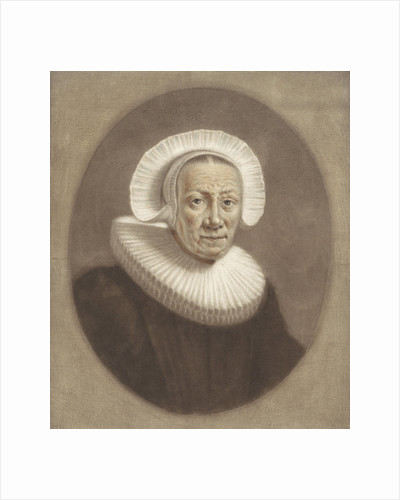 Portrait of an old woman with wide stiff pleated collar and cap diadem by Pieter Louw