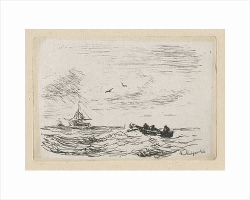 Seascape with a sailing and rowing, Louis Meijer by Louis Meijer