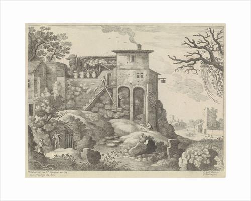 Italian landscape with an inn by Lodewijk XIV