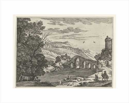 A hilly landscape is crossed by a river, over the river a stone bridge with five arches by Willem van Nieulandt II