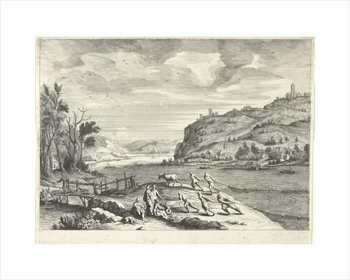 Italian landscape with fishermen by Adriaen van Nieulandt I