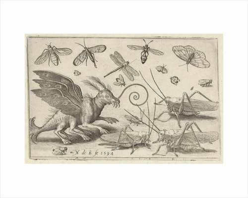 Locusts and fantasy creature with wings by Nicolaes de Bruyn