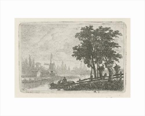 Boat at the waterfront by Hermanus Jan Hendrik van Rijkelijkhuysen