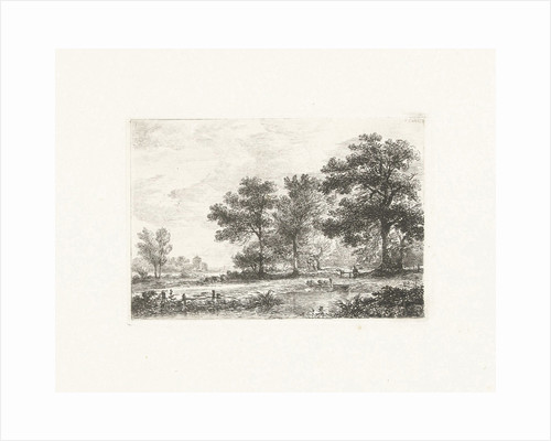 Landscape with a man on a bench under a tree by Pieter Casper Christ