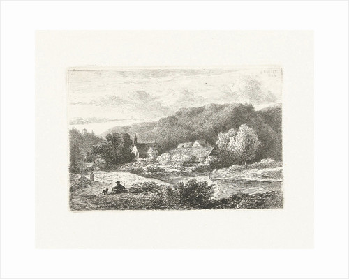 Hill landscape with church and houses by Pieter Casper Christ