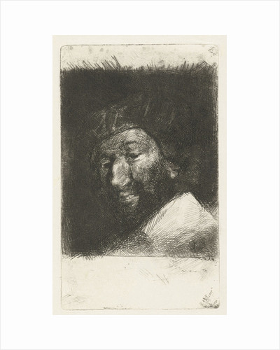 Portrait of smiling man with beard and hat by Bernardus Johannes Blommers