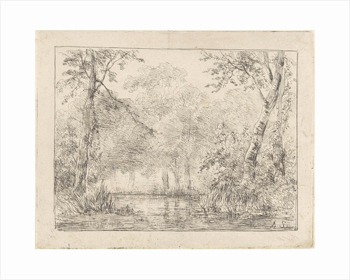 Forest scene with pond by Andreas Schelfhout